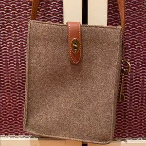 Fossil Wool and Leather Crossbody Bag